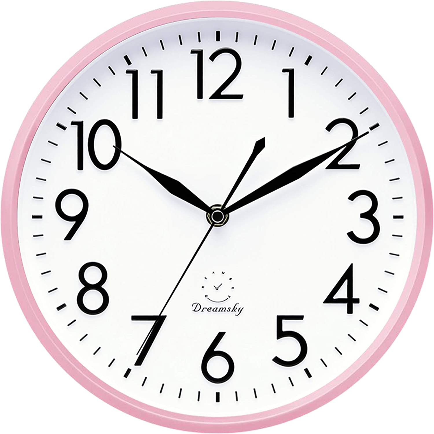 Amazon Com Dreamsky 10 Inches Silent Wall Clock Battery Operated Non Ticking Decorative Indoor Kitchen Round Clock 3d Numbers Display Nice Pink Quiet Wall Clock For Kids Girls Nursery Room Home Kitchen