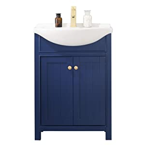 "Luca Kitchen & Bath LC24HBP Carson 24"" Bathroom Vanity Set in Midnight Blue Made with Hardwood and Integrated Porcelain Top"