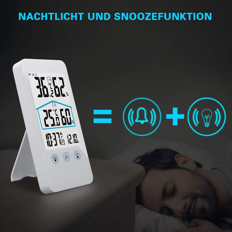digitales Thermo-Hygrometer eSky24 Funk-Wetterstation mit Au/ßensensor multifunktionale Wetterstation beleuchtetes LCD Display Schwarz