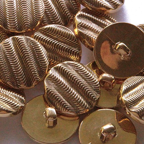 """Fancy & Decorative {23mm w/ 1 Back Hole} 12 Pack of Large Size Square """"Box Shank"""" Sewing & Craft Buttons Made of Plastic w/ Vintage Curved Wave Line Golden Metallic Shiny Design {Gold}"""
