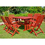 #1: International Caravan RE-07-FA-127-6CH-BRD-IC Furniture Sciacca Acacia Wood Seven Piece Dining Group
