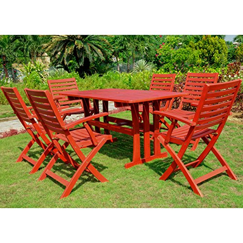 International Caravan RE-07-FA-127-6CH-BRD-IC Furniture Sciacca Acacia Wood Seven Piece Dining Group