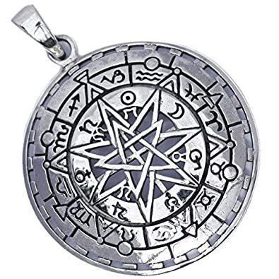 Solid Sterling Silver Elven Fairy Star Septagram Zodiac Astrology Pendant (P084) F6P8iBAEb