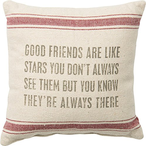 Primitives by Kathy Vintage Flour Sack Style Friends Like Stars Throw Pillow, 10-Inch Square (Pillow Friend)
