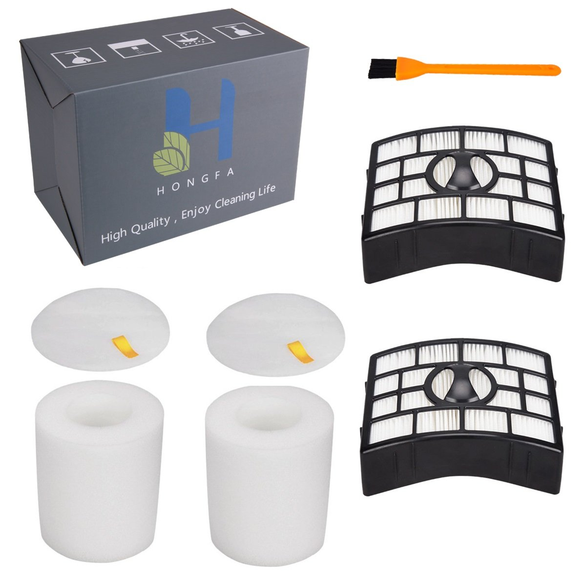 2Pack Hepa Filter & Foam Flet Filter for Shark Rotator Powered Lift-Away NV752 NV751 NV650 NV750 (Not Fit NV500 NV680 Series) Replacement parts with 1pcs Cleaning Brush Replace Parts # XFF650