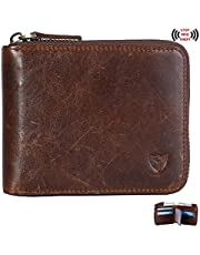 RFID Men's Leather Zipper Wallet Zip Around Wallet Bifold Multi Card Holder Purse