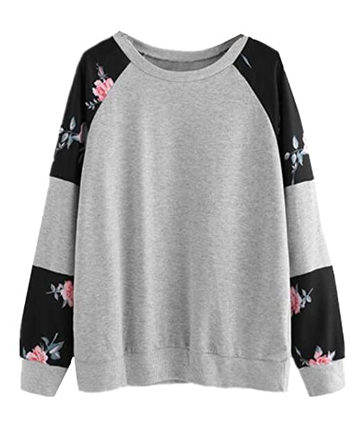 Tayaho Sudaderas De Manga Larga Mujer Jersey Casual Estampado Floral Pullover Patchwork Deportivo Tops Universidad Hipster Sudadera Bonitas: Amazon.es: Ropa ...
