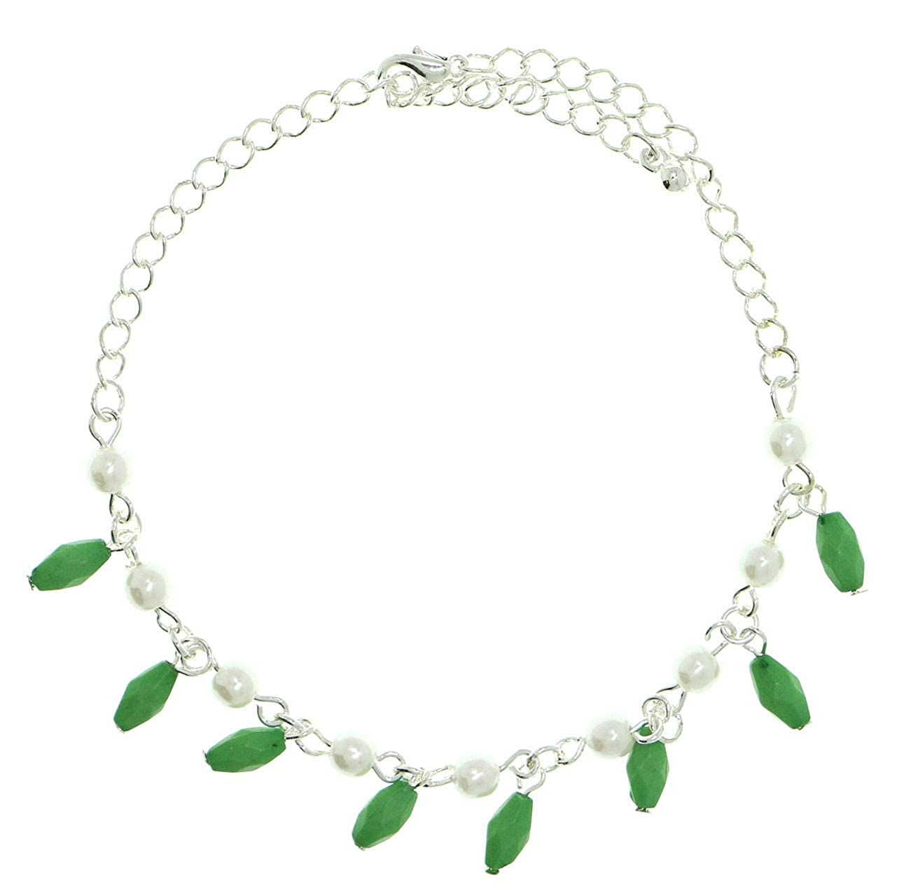 Mi Amore Silver-Tone Ankle Bracelet With Bead Accents Faceted Charms AN1263A-GREEN