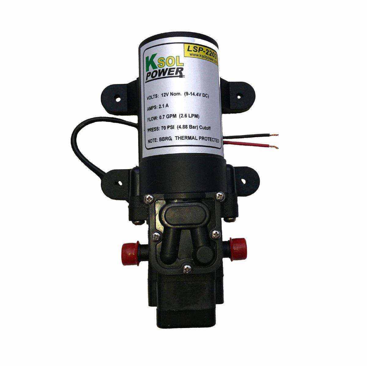 Surface Diaphragm Water Pump, 12VDC, 2.1A, 70PSI, 2.6LPM, 3/8'' Barb, KSOL Power