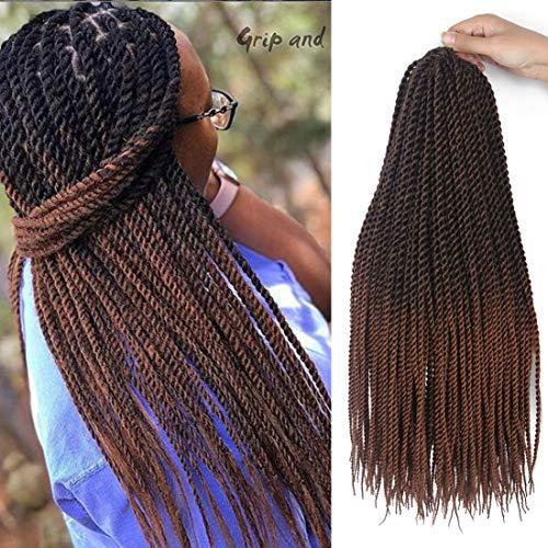8 Packs Senegalese Twist Crochet Hair Braids 18 Inch Small Havana Mambo Twist Braiding Hair 20 Strands/Pack Synthetic Hair Extensions (1B/30#)