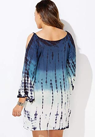 Swimsuits for All Womens Plus Size Cold Shoulder Swimsuit Cover Up