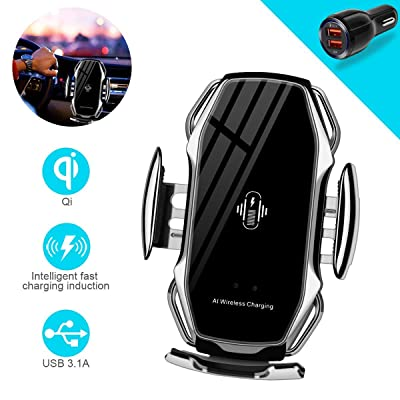 Wireless Charger Car Touch Sensing Automatic Retractable Clip Fast Charging Compatible for iPhone Xs Max/XR/X/8/8Plus Samsung S9/S8/Note 8: Electronics