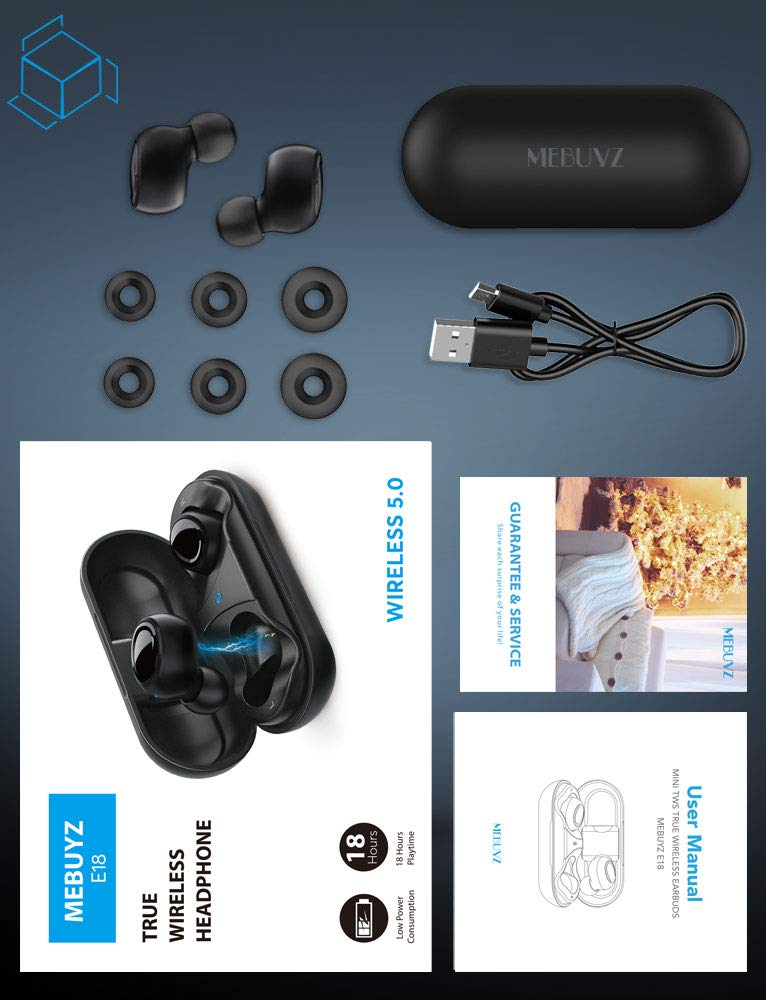 True Wireless Earbuds Bluetooth 5.0 Headphones,MEBUYZ Sports in-Ear TWS 3D Stereo Sound Earphones 6-8 Hours Non-Stop Playtime 24H Playtime with Charging Case Bulid-in Mic IPX5 Waterproof Earbuds by MEBUYZ (Image #7)