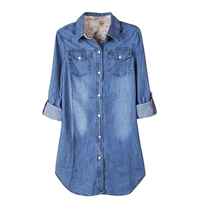 AIMEE7 Nueva Camisa De Mezclilla Azul Vintage Casual De Manga Larga Para Mujer Tops Blusa (