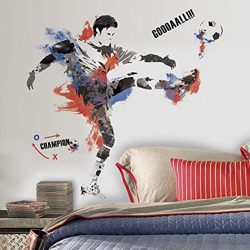 22 Piece Kids Blue Red Grey Soccer Wall Decals Set, Sports Themed Wall Stickers Peel Stick, Sport Football Kick Goal Champion Player Ball Game Decorative Mural Art, Vinyl