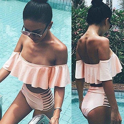 SKY Hot Selling !!! La Sra volante sin tirantes de dos piezas traje de baño bikini Bandage Bikini Set Padded Bra Swimsuit Bathing Suit Swimwear Rosado