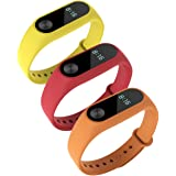 Awinner Colorful Waterproof Replacement Bands for Xiaomi Mi Band 2 Smart Miband 2nd (No Activity Tracker) (Red,Yellow,Orange)