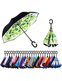 Inverted Umbrella – Reverse Double Layer Long Umbrella, C-Shape Handle & Self-Stand to Spare Hands, Inside-Out Fold to Keep Cars & Drivers Dry, Carrying Bag for Easy Traveling