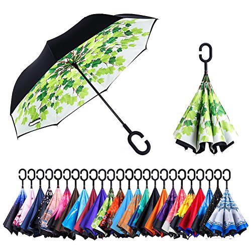 Newsight Reverse/Inverted Double-Layer Waterproof Straight Umbrella, Self-Standing & C-Shape Handle & Carrying Bag for Free Hands, Inside-Out Folding for Car Use (Green Leaves)