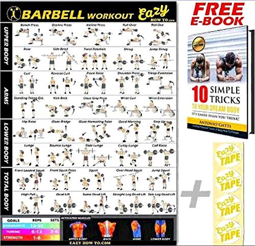 Barbell Weight Lifting Bar Exercise Workout Banner Poster BIG 28 X 20