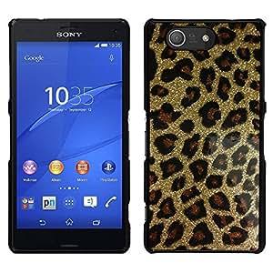 El oro del brillo de Bling del leopardo del patrón de piel - Metal de aluminio y de plástico duro Caja del teléfono - Negro - Sony Xperia Z3 Compact / Z3 Mini (Not Z3)
