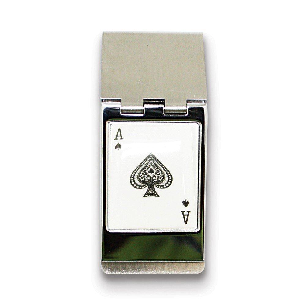 Diamond2Deal Silver-Tone Ace Hinged Money Clip