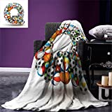smallbeefly Letter Q Custom printed Throw Blanket Typographic Letter Font Design with Various Gaming Balls Athletic Kids Teamplay Velvet Plush Throw Blanket Multicolor