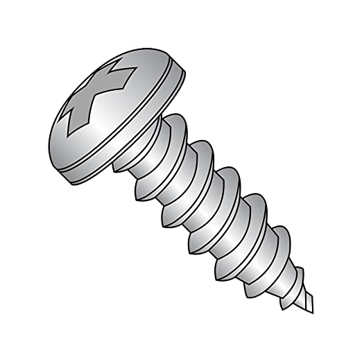 18-8 Stainless Steel Tapping Screw Assortment for Sheet Metal 1250 Pieces FastenerParts Rounded Head