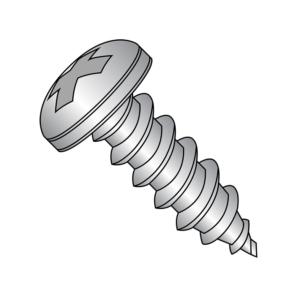 18-8 Stainless Steel Sheet Metal Screw, Plain Finish, Pan Head, Phillips Drive, Type A, 10-12 Thread Size, 2'' Length (Pack of 25)