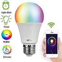 ZKTeco Bombilla LED Inteligente, LB1 WiFi Bombillas Inteligentes, 10W 900LM Dimmable Smartphone de Color, Focos Wifi Compatible con Amazon Echo Alexa Google Home, E26(ZSmart APP compatible con Todos los Productos Inteligentes de ZKTeco)