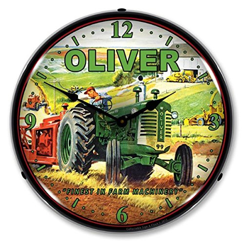 New Oliver Tractor Retro Vintage Style Advertising Backlit Lighted Clock - Ships Free Next Business Day to Lower 48 States