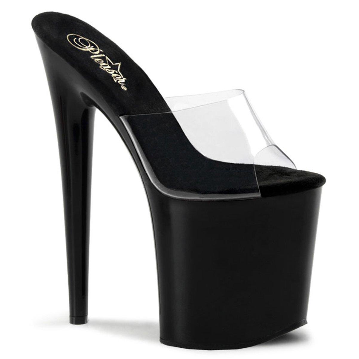 8 Inch Heel High Platform Sandal Shoe Slip On Sexy Stripper Shoes Open Toe B002XEWC7A 5 B(M) US|Black/Clear