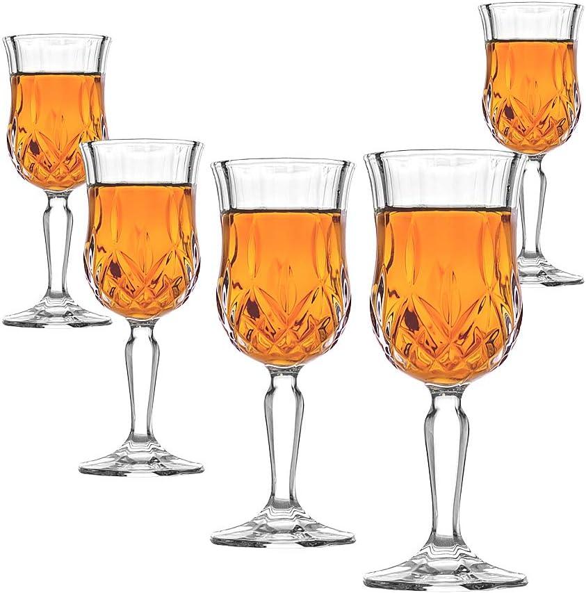 Amlong Crystal Lead-Free Cordial Glasses - 5 oz, Set of 6