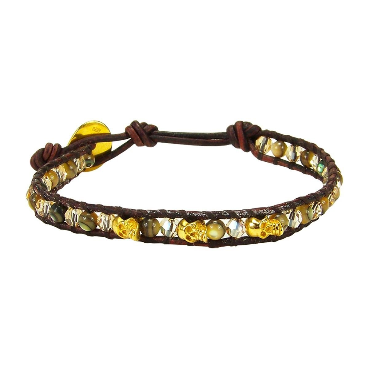 Chan Luu Abalone & Crystal Single Wrap Bracelet with Gold Vermeil Skulls