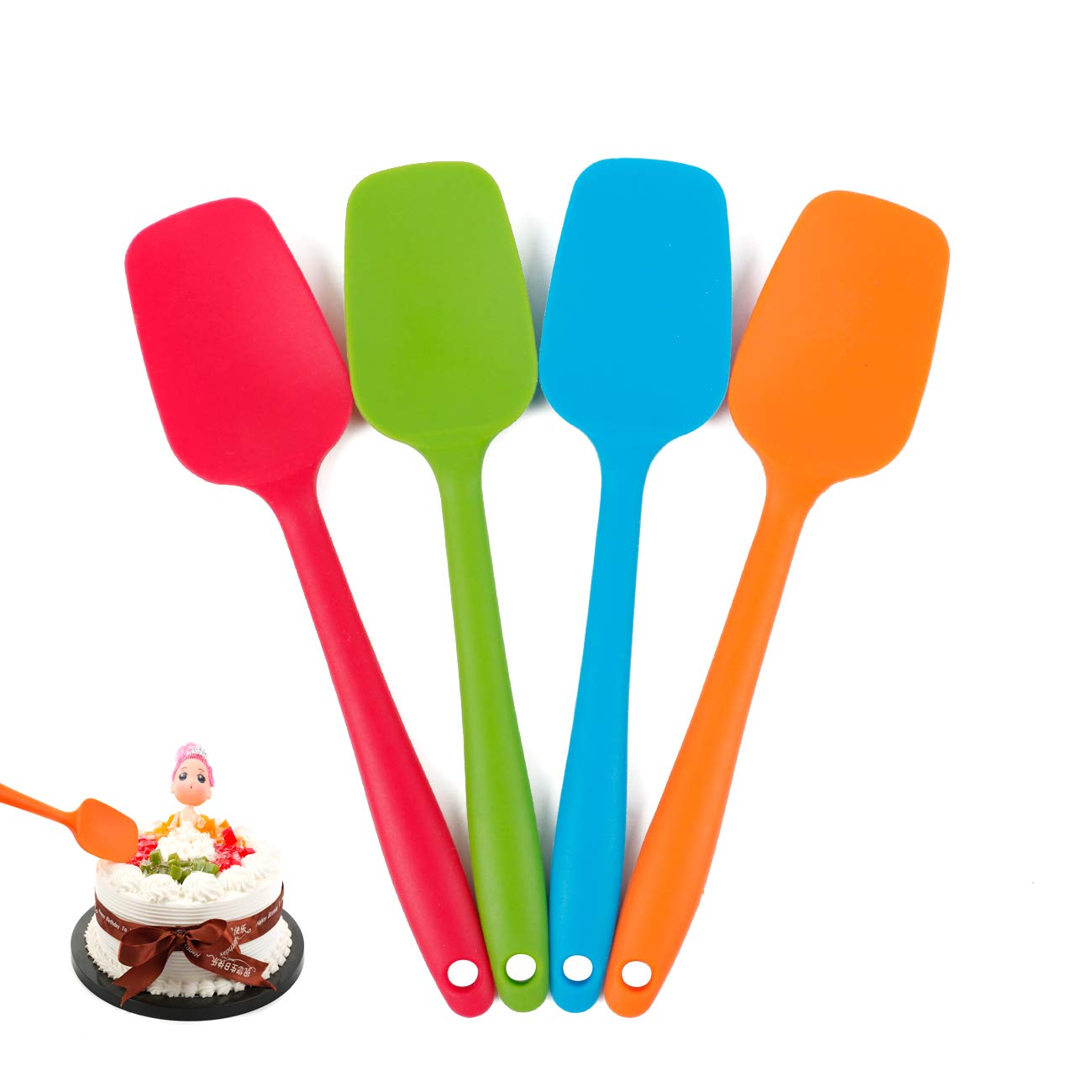 Delidge Silicone Spatula Set - 4-piece, Heat-Resistant Baking Spoon & Spatulas, Non-stick Rubber Dishwasher Safe Seamless Spatulas with Stainless Steel Core - Multicolor