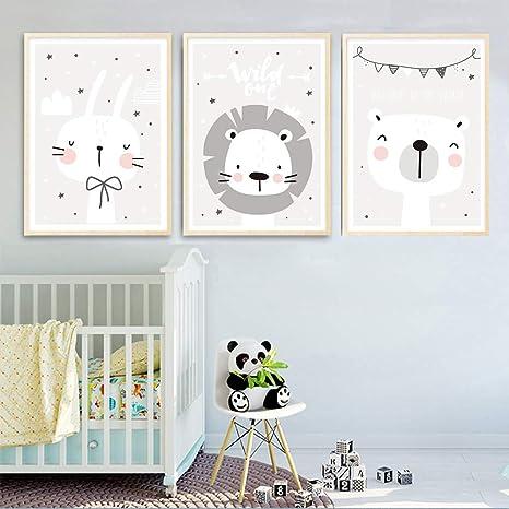 3 Cuadros Nordicos Decoracion Laminas Decorativas Pared Póster Animales León Oso Conejo Mural Decoración Infantil Bebe Dormitorio Niños Regalo Sin ...