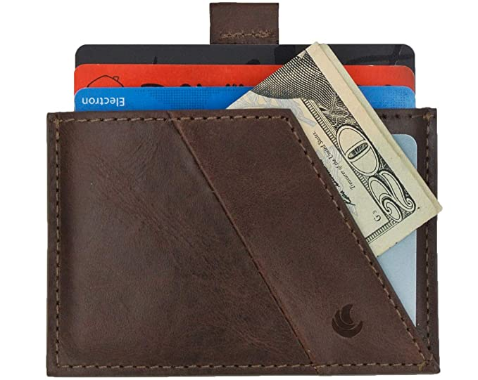 Slim RFID blocking minimalist leather front pocket flat wallet for men and women by bluesun (