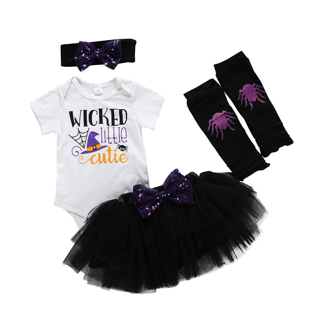 VICGREY Completo Bambina Tutine E Body Carnevale Halloween Bambini Costume Bambina Abbigliamento Vestiti Pagliaccetti Tutu Gonna di Halloween Completi per Bambini 4PCS