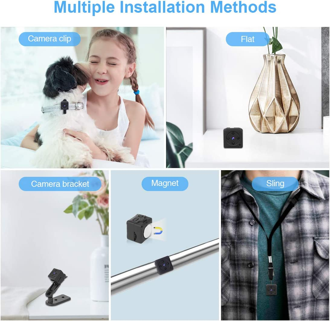 Indoor//Outdoor Micro Security Surveillance Hidden Camera Mini Spy/Camera/Wireless Hidden,/MHDYT Full HD 1080P Portable Small Covert/Home Nanny Cam with Motion Detection and Night Vision