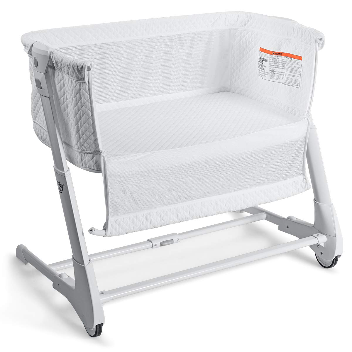 BABY JOY Baby Bedside Crib, 2 in 1 Height Angle Adjustable Sleeper Bed Side Bassinet w Detachable Washable Mattress, Straps, Easy Folding Movable Cradle for Newborn Infant, Breathable Mesh White