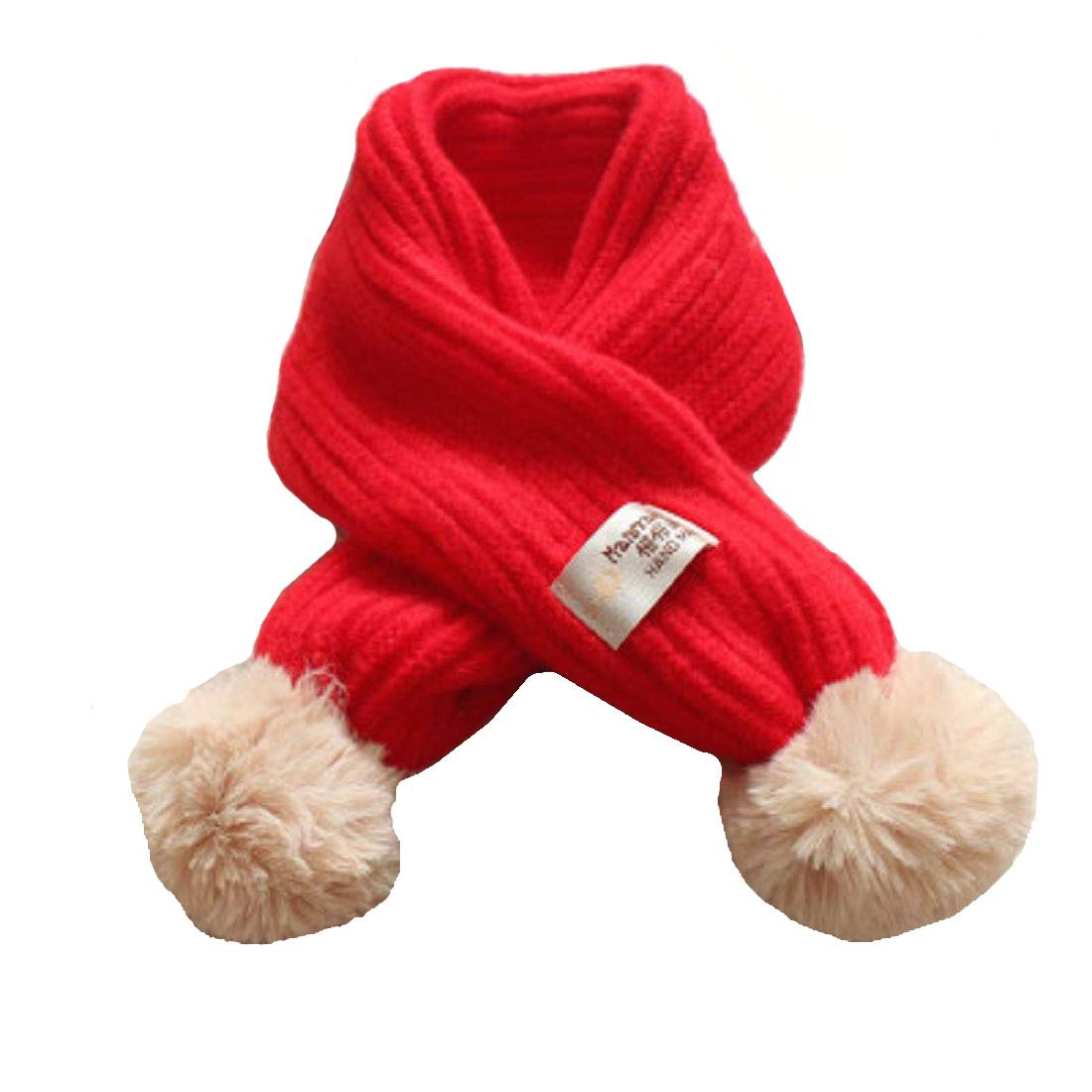 Boomly Infant Toddler Cotton Scarf Baby Winter Collar Neck Warmer Warm Neckerchiefs With PomPom