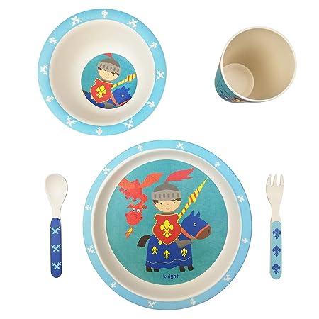 profesional vajilla Infantil Bebe de bambú 5 Piezas cubertería para niños Vaso de Beber Plato para niños Reciclaje de Material Natural-Caballero Azul