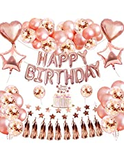 Rose Gold Happy Birthday Balloons Decoration,Rose Gold Star Heart Balloons Star String Foil Curtains Happy Birthday Banner Kit for Women Kids Birthday Party(50PCS)