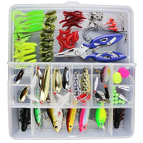 - Keweis 101pcs Set Fishing Lures Tackle Including Freshwater,Saltwater, Bass,Trout,Salmon,Including Spoon Lures,Soft Plastic Worms, CrankBait,Jigs,Topwater Lures,Fishing Bait Set Plastic Box