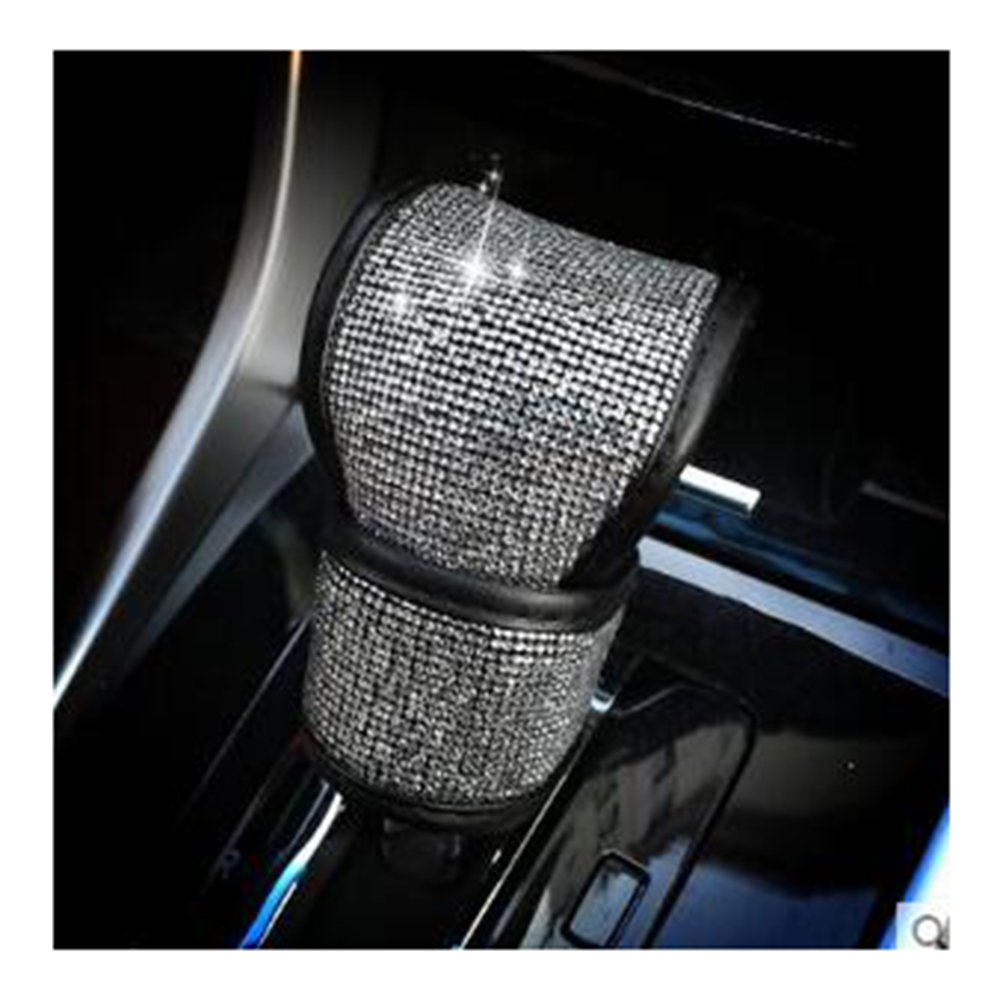 LuckySHD PU Leather Car Gear Shift Cover with Bling Rhinestones Car Accessories Case