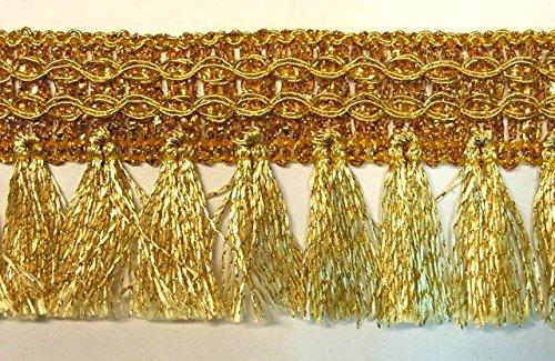 16,40m Fransen-Borte 4cm breit Farbe: Lurex-Gold TSL-AA-360-7-gold