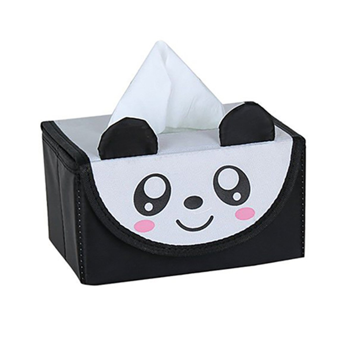 Funi Non-woven Cute Animal Tissue Box Cloth Napkin Holder Seat Type Tissue Case for Home Decoration (Black Panda)