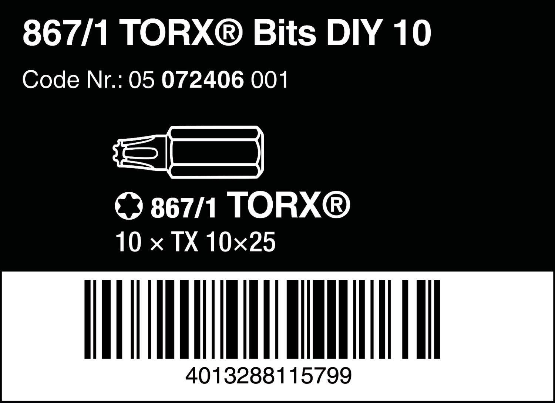 Import Allemagne Wera 05072406001 Coffret dembouts Torx 867//1 Z TX 10