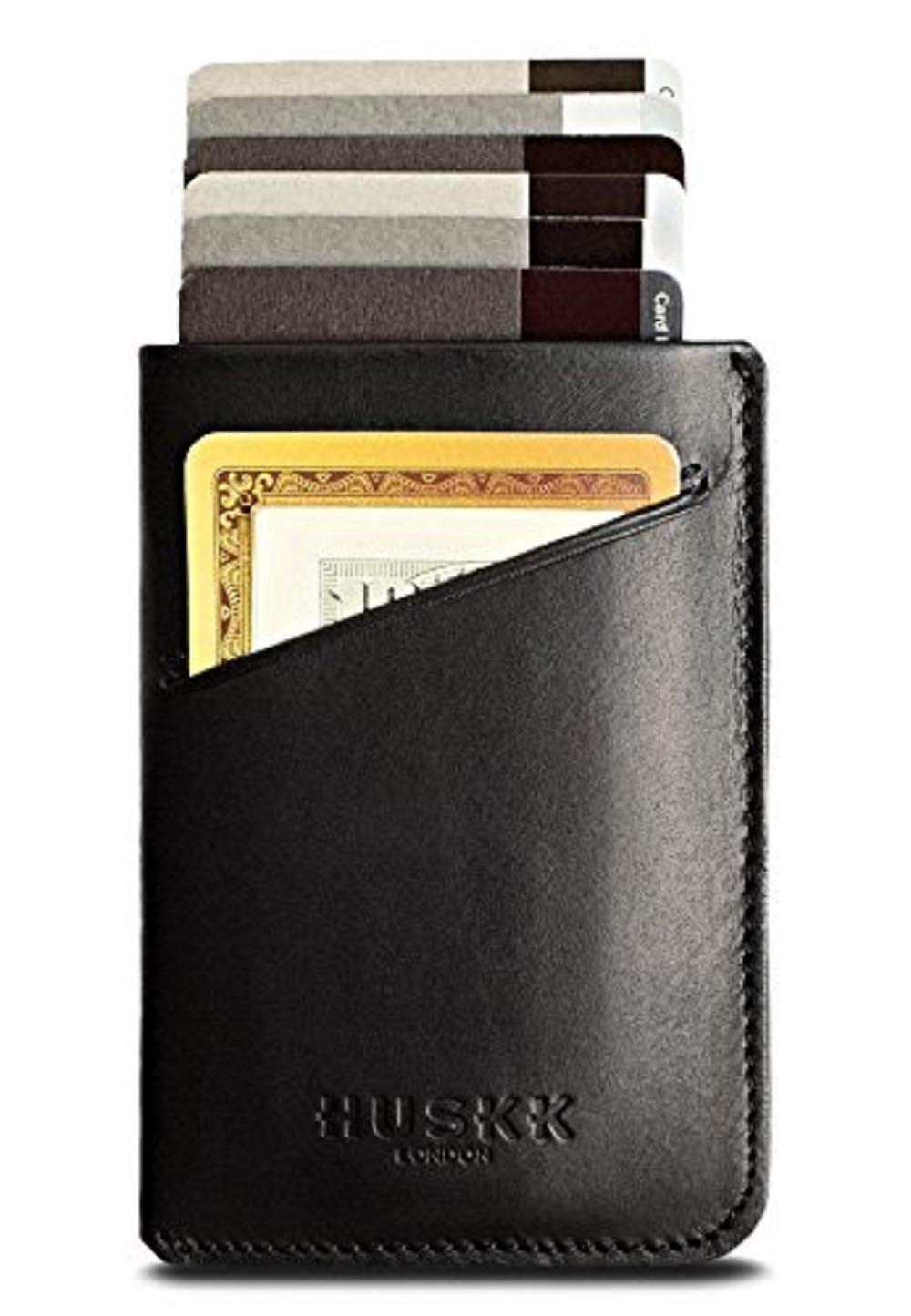Slim Front Pocket Leather Wallet for Men Card Holder Up to 8 Cards /& Cash HUSKK CSC5-DBCH Brown