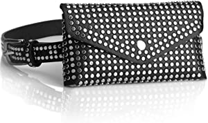 Studded Fanny Packs for Women Teen Girls Black Leather, Fashion Waist Pack Belt Bag with Adjustable Strap, Casual Trend Fanny Pack Bum Bags